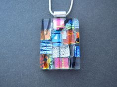 Confetti Fused Dichroic Glass Pendant and Necklace 070511p103