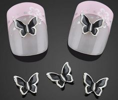 2pc 3D Nail Art Nail Gems Black Rhinestones Butterfly Butterflies Nail Art Pair Them With Our Great Nail Decals