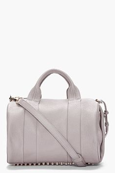 ALEXANDER WANG - Light Grey Leather Rocco Studded Duffle Bag