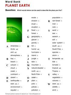 Planet Earth, English, Learning English, Vocabulary, ESL, English Phrases, http://www.allthingstopics.com/planet-earth.html