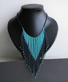 Beaded necklace with fringe
