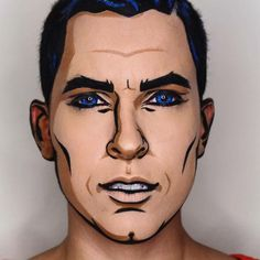 31 Days Of Halloween Beauty Inspiration - Make-Up Male Makeup, Fx Makeup, Makeup Ideas, Weird Makeup, Beauty Makeup, Pop Art Costume, Costume Makeup, Looks Halloween, Halloween Diy