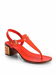 Tory Burch - Audra Logo Heel Leather Sandals
