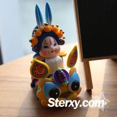 Sterxy Polymer Clay Beijing Rabbit God Figurine Chinese Clay Toy Ornament Traditional Beijing Tu'er Ye Home Decor Lord Rabbit—Yellow Dragon Yellow Dragon, Decor Room, Decor Crafts, Handicraft, Polymer Clay, Kids Room, Rabbit, Lord, Traditional