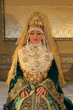 """traditional bridal costume from the Mediterranean side of morocco. """"lebsa chamalya"""""""