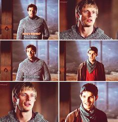 Merlin| Arthur's face in this is utter fear for Merlin's live. But then Merlin is there and everything is better, like they're journey is behind them and they're both only caring for each other in that moment.