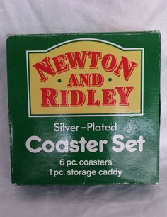 Newton And Ridley Silver Plated 6 Piece Coaster Set With Storage Caddy,  Coronation Street,