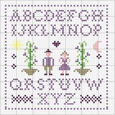 Schema punto croce Alfabeto-personaggi