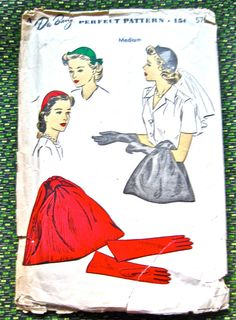 1940s DuBarry hat gloves and purse pattern.  Size is by Fancywork