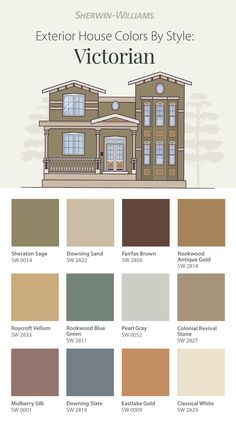 Give your stately Victorian home the look it deserves with exterior paint colors from Sherwin-Williams. Tap this pin to explore the America's Heritage Palette to find paint color inspiration that pays homage to this classic architectural style. #sherwinwilliams #paint #painting #exteriorpaint #housecolor #color #inspiration #victorian #craftsman House Exterior Color Schemes, House Paint Exterior, Exterior Paint Colors, Paint Colors For Home, House Colors, Interior And Exterior, Craftsman Bungalows, Sims House, Victorian Homes