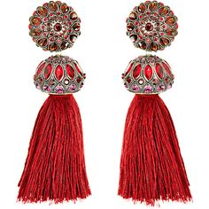 Lanvin Red Tassel Earrings (1,245 CAD) ❤ liked on Polyvore featuring jewelry, earrings, accessories, red, red crystal earrings, crystal jewelry, crystal jewellery, red tassel earrings and floral jewelry