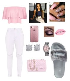 """""""Cute Outfit"""" by trillyprincess ❤ liked on Polyvore featuring Boohoo, Puma, Speck, Chanel and Rolex"""