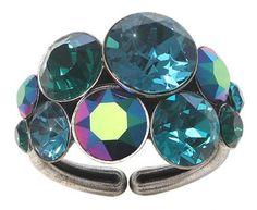 Ring von Konplott - Petit Glamour - Blau, Grün , Antiksilber - Blickfang-Hautnah
