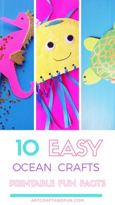 Make these 10 Easy Ocean Crafts for Preschool. Perfect hands on activity on Ocean theme. FREE Printable Fun Facts and Templates included! Popsicle Stick Crafts, Craft Stick Crafts, Crafts To Do, Preschool Crafts, Crafts For Kids, Under The Sea Crafts, Crab Crafts, Turtle Crafts, Construction Paper Crafts
