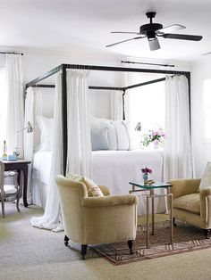 What a dreamy bedroom! The neutral color scheme adds to the soothing, relaxed feel.