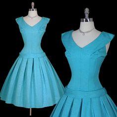 Vintage 50s Vixen Azure Cocktail Party Dress M