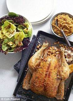Roast chicken with chickpea stuffing and a big green salad