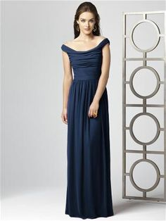 Off the shoulder full length lux chiffon dress w/ shirred bodice & natural waist. Color = midnight blue. One possibility for a full-length bridesmaid dress.
