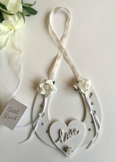 Wedding shabby chic good luck horse shoe bride & groom gift by strawberryletter on Etsy Bride And Groom Gifts, Bride Groom, Wedding Planning Timeline, Good Luck Gifts, Hanging Hearts, Bride Shoes, Wooden Hearts, Paper Flowers, Shabby Chic