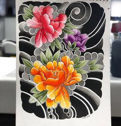 Search inspiration for a Japanese tattoo. Tattoo Japanese Style, Japanese Flower Tattoo, Traditional Japanese Tattoos, Japanese Tattoo Designs, Japanese Sleeve Tattoos, Japanese Flowers, Japanese Art, Japan Tattoo Design, Wolf Tattoo Design