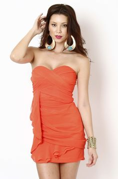Draped Strapless Sweetheart Mini Dress- Red-Orange