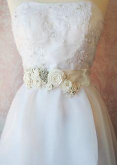 Ivory Bridal Sash Wedding Belt Antique White by TheRedMagnolia Wedding Belts, Wedding Sash, Bridal Sash, Wedding Dresses, Cream Wedding, Rosettes, Crystal Rhinestone, All Things, Ivory