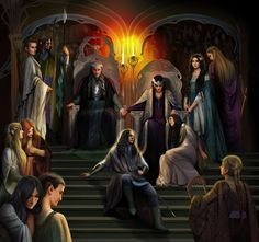 The royal court of Thingol by steamey.deviantart.com.  Lúthien with her parents, Thingol and Melian...