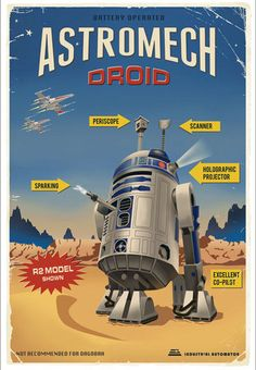 R2-D2 Battery-Operated Astromech Droid - Made to look vintage, retro-art. #StarWars  http://www.warpedspacescifi.com/