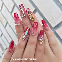 Red ombré nails by Ann for prom party - - - - - Gold Acrylic Nails, Gold Nails, Rhinestone Nails, Bling Nails, Nails By Ann, Ambre Nails, Red Ombre Nails, Nagel Bling, Gel Nagel Design