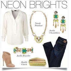 Add Neon Brights Stella & Dot jewels to a collared shirt, faded jeans and pull on boots for the perfect pop of color!