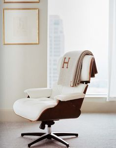 Eames lounge chair and Hermes Avalon throw