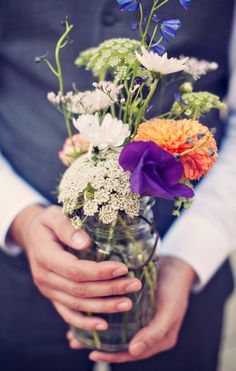 """Said Sam, """"wedding flowers. oh so pretty."""" Table floral arrangement reference."""