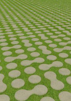 15 Paving and Grass Pattern Ideas for Garden - decoratop Landscape Elements, Urban Landscape, Landscape Architecture, Landscape Design, Garden Design, Driveway Landscaping, Modern Landscaping, Grass Pavers, Pavement Design