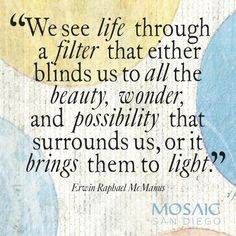 """""""We see life through a filter that either blinds us to all the beauty, wonder, and possibility that surrounds us, or it brings them to light."""" Erwin McManus, The Artisan Soul Erwin Mcmanus, Art Quotes, Inspirational Quotes, Healthy Quotes, Chase Your Dreams, Art Life, More Than Words, Change Quotes, Bipolar"""