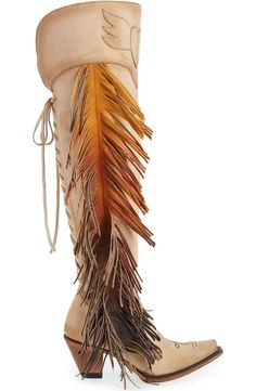 ea6aff4ad46f LANE BOOTS x Junk Gypsy Fringe Over the Knee Western Boot (Women)