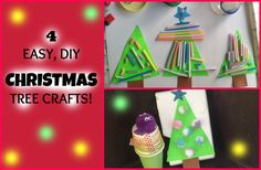 """Christmas crafts are so much fun to do! My son had his own """"version"""" of creating Christmas tree in four different ways with things from around the house. They turned out so cute, that I had to share it with you guys :-) Her channel : https://www.youtube.com/channel/UC2XieDd_m9XpJBMlTWTbFKA"""