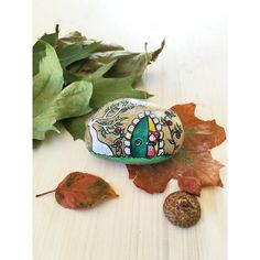 The Secret Garden OOAK hand painted stone signed and numbered (95 CAD) ❤ liked on Polyvore featuring home, outdoors and outdoor decor