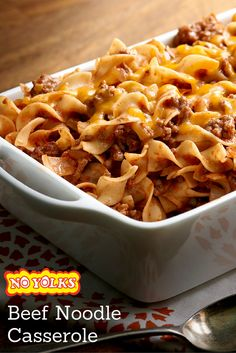 Beef Noodle Casserole – Perfect for chilly evenings, this hearty ground beef casserole made with always smooth, firm and delicious No Yolks® noodles will warm the soul. Recipes With No Yolk Noodles, Egg Noodle Recipes, Beef And Noodles, Recipes With Egg Noodles And Hamburger, Hamburger Casserole With Noodles, Beef Casserole Recipes, Ground Beef Casserole, Casserole Dishes, Egg Noodle Casserole