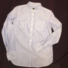 Like New! J. Crew women's button pullover XXS Blue Long sleeve button with pocket 100% cotton Size XXS J. Crew Tops Button Down Shirts
