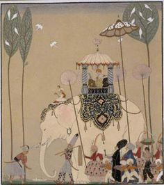 Indian inspiration with George Barbier- i like the color scheme for inspiration because there are not as crazy colors but there is the rust and grey gold black white and grey blue. interesting