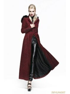 Gothic Woolen Black and Red Women Long Coat With Hat - Devilnight.co.uk