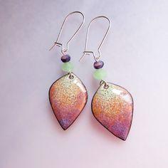 Seafoam purple dangle earrings, dainty small bohemian earrings, enamel jewelry, drop earrings on Etsy, $36.00