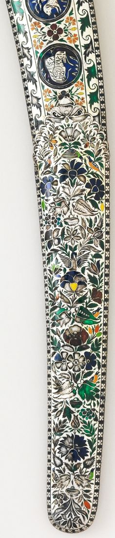 Indian shamshir, early 19th century, detail view of the scabbard, steel, ivory, enamel, gold, wood, silver, Met Museum, Bequest of George C. Stone, 1935.