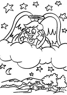 Happy Angel on Clouds Coloring Pages