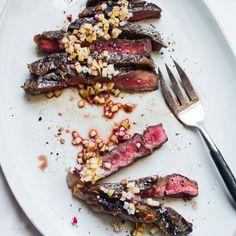 Grilled Rib Eye Steaks with Apple-Radish Vinaigrette    Food & Wine