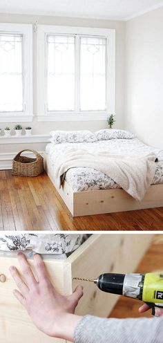Easy & Simple Wooden Bed Frame - 50 DIY Furniture Projects with Step by Step Plans (Diy Muebles Cama) Diy Home Decor Bedroom, Easy Home Decor, Bedroom Furniture, House Furniture, Diy Furniture Projects, Furniture Design, Wooden Furniture, Diy Furniture Easy, Furniture Plans