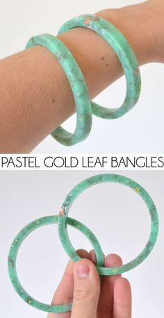 34 DIY Resin Casting Crafts, DIY and Crafts, DIY Resin Casting Crafts - Handmade Resin Pastel and Gold Leaf Bangles - Homemade Resin and Epoxy Craft Projects and Ideas - How to Make Resin Jewelry. Resin Bracelet, Bangle Bracelets, Silver Bracelets, Diy Resin Bangle, Diy Resin Beads, Diy Resin Earrings, Diy Bracelet, Healing Bracelets, Silver Ring