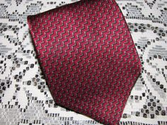"Bill Blass Neck Tie Burgundy Geometric Design 100% Imported Silk 58"" Long #BillBlass #NeckTie"
