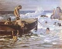 Benito Rebolledo -  1880 - 1964 Landscape Paintings, Landscapes, Marines, South America, Coastal, Boat, Swimmers, Jewels, Funny