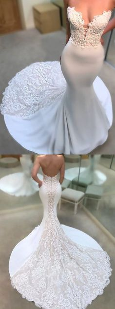 mermaid long wedding dress, sweetheart white long wedding dress